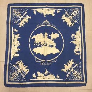 Vintage Blue Gray Mythic Figures Hermes Silk Scarf